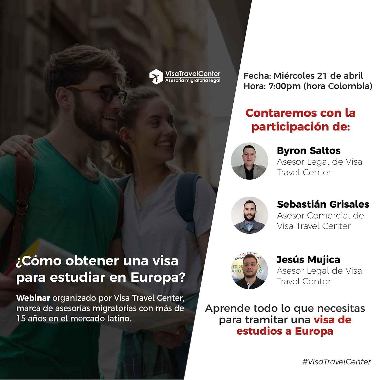 Webinar como tramitar visa estudiantil Europa